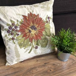 Pottery Barn Sunflower Embroidered Pillow 18x18